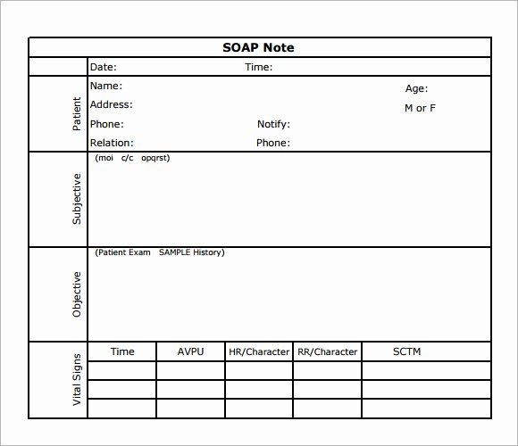 Free soap Note Template New 8 Best Of soap Note Template Pdf Printable Blank