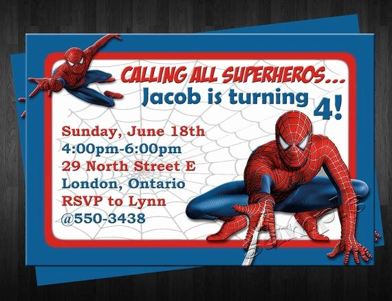Free Spiderman Invitation Template Awesome Items Similar to Spiderman Birthday Invitation Custom
