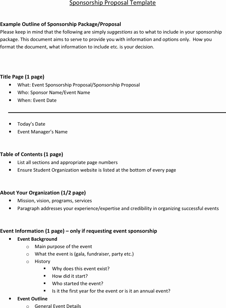 Free Sponsorship Proposal Template Awesome 6 Sponsorship Proposal Templates Excel Pdf formats
