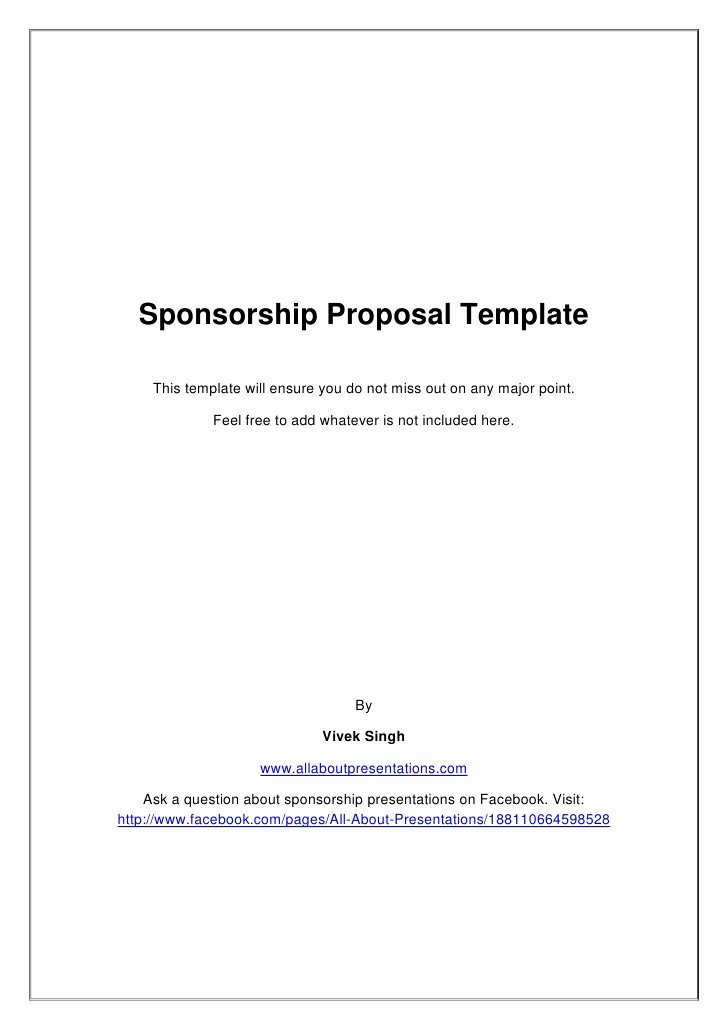 Free Sponsorship Proposal Template Awesome Sponsorship Proposal Template