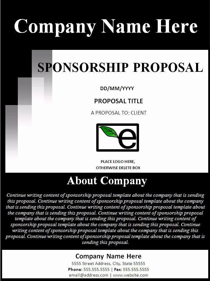 Free Sponsorship Proposal Template Beautiful Sponsorship Proposal Template Free formats Excel Word