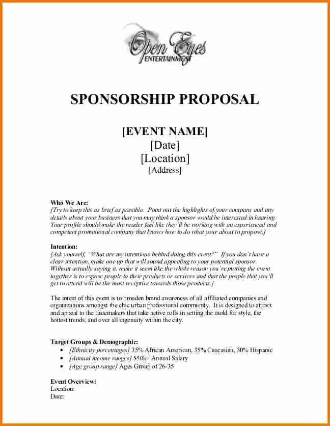 Free Sponsorship Proposal Template Best Of Sponsorship Proposal Sponsor