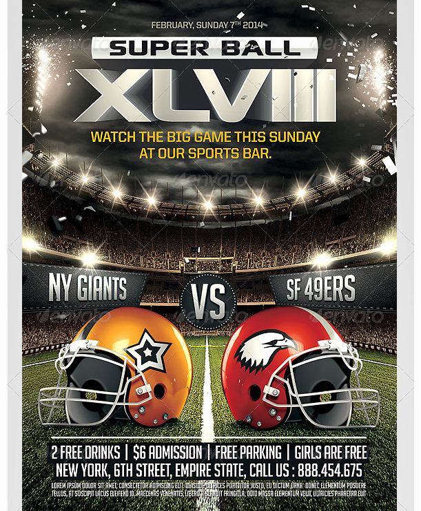 Free Sports Flyer Template Awesome Super Ball Football Flyer Template Party Flyer Templates