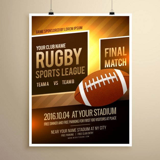 Free Sports Flyer Template New Rugby Sports Flyer Template Vector