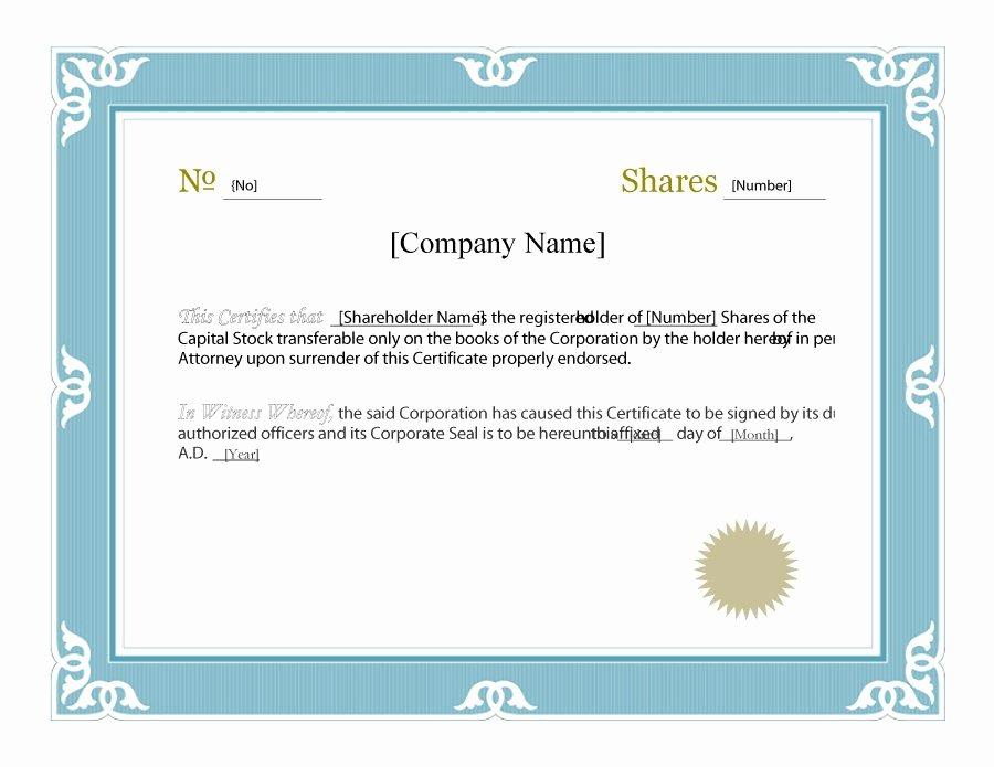 Free Stock Certificate Template Fresh 41 Free Stock Certificate Templates Word Pdf Free