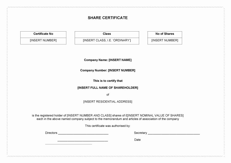 Free Stock Certificate Template Inspirational 40 Free Stock Certificate Templates Word Pdf