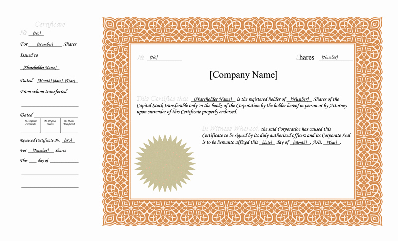 Free Stock Certificate Template Lovely Blank Free Mon Stock Certificate Template Microsoft