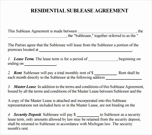Free Sublease Agreement Template Beautiful Printable Sample Sublease Agreement Template form