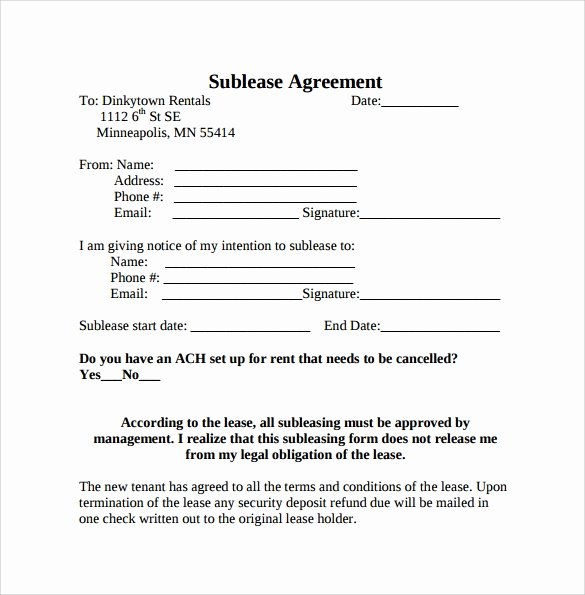 Free Sublease Agreement Template Best Of 23 Sample Free Sublease Agreement Templates to Download