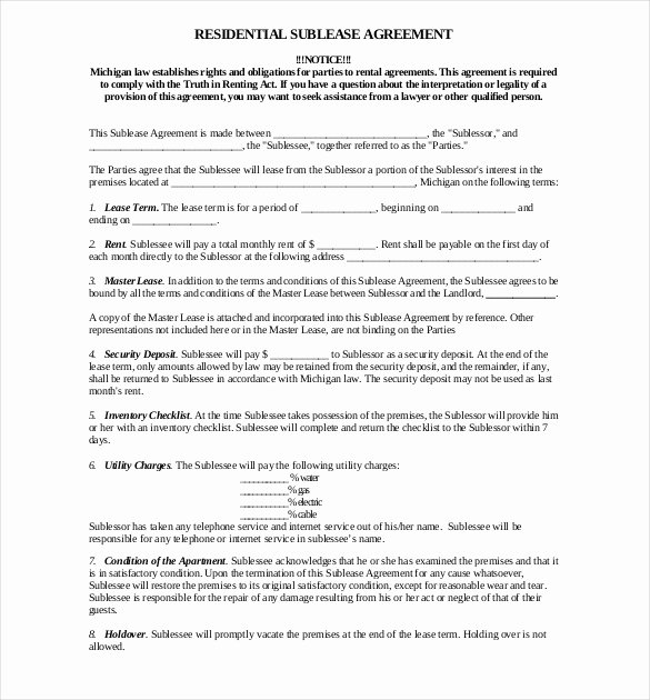 Free Sublease Agreement Template Inspirational 10 Sublease Agreement Templates Word Pdf Pages