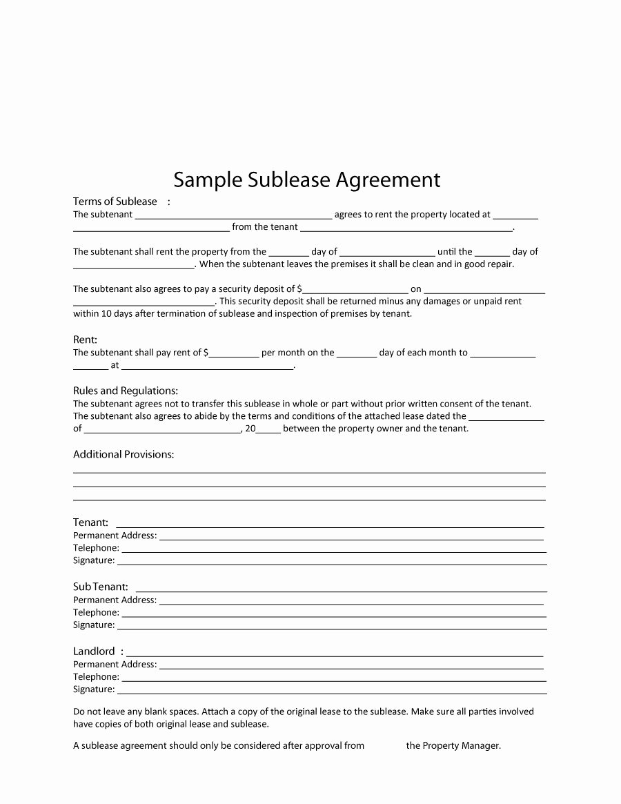 Free Sublease Agreement Template Inspirational 40 Professional Sublease Agreement Templates & forms