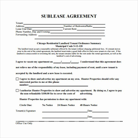 Free Sublease Agreement Template Inspirational Mercial Sublease Agreement Template Uk Templates