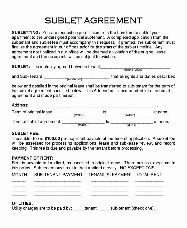 Free Sublease Agreement Template New Apartment Lease Contract Template Sublease Agreement Free