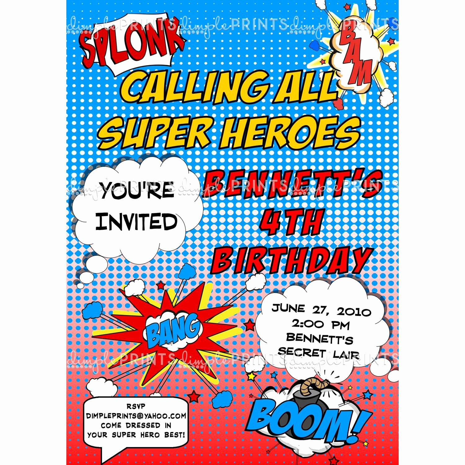 Free Superhero Invitation Template Awesome Superhero Ic Printable Invitation Dimple Prints Shop