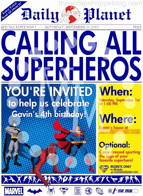 Free Superhero Invitation Template Fresh Superhero Newspaper Birthday Invitation the Scrap Shoppe