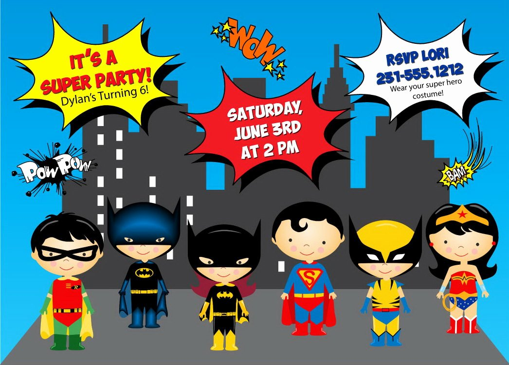 Free Superhero Invitation Template Luxury Super Hero Invitation Kids Super Hero Birthday Invitation