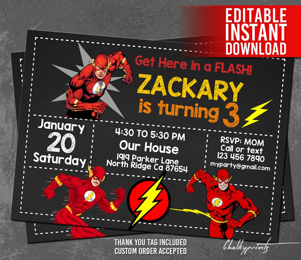 Free Superhero Invitation Template New the Flash Invitation Instant Download Flash Invitations