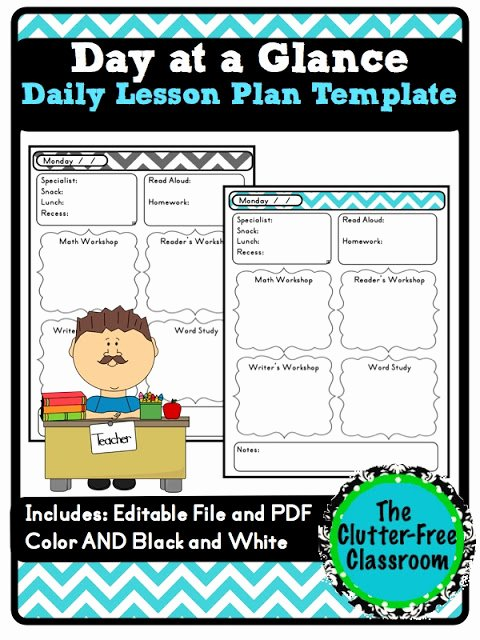 Free Teacher Planner Template Luxury Day at A Glance Daily Lesson Planning Lesson Plan