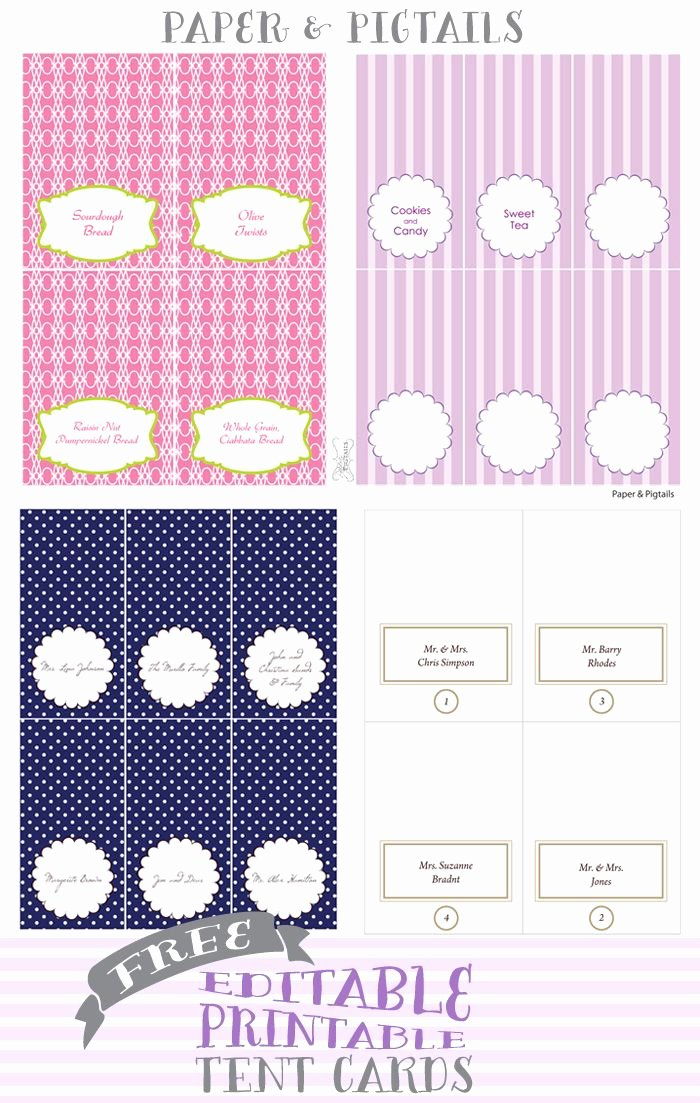 Free Tent Card Template Lovely Paper & Pigtails Free Printable Tent Cards