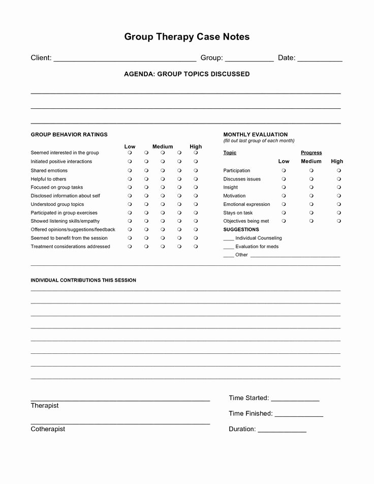 Free therapy Notes Template Lovely Free Case Note Templates Group therapy Case Notes