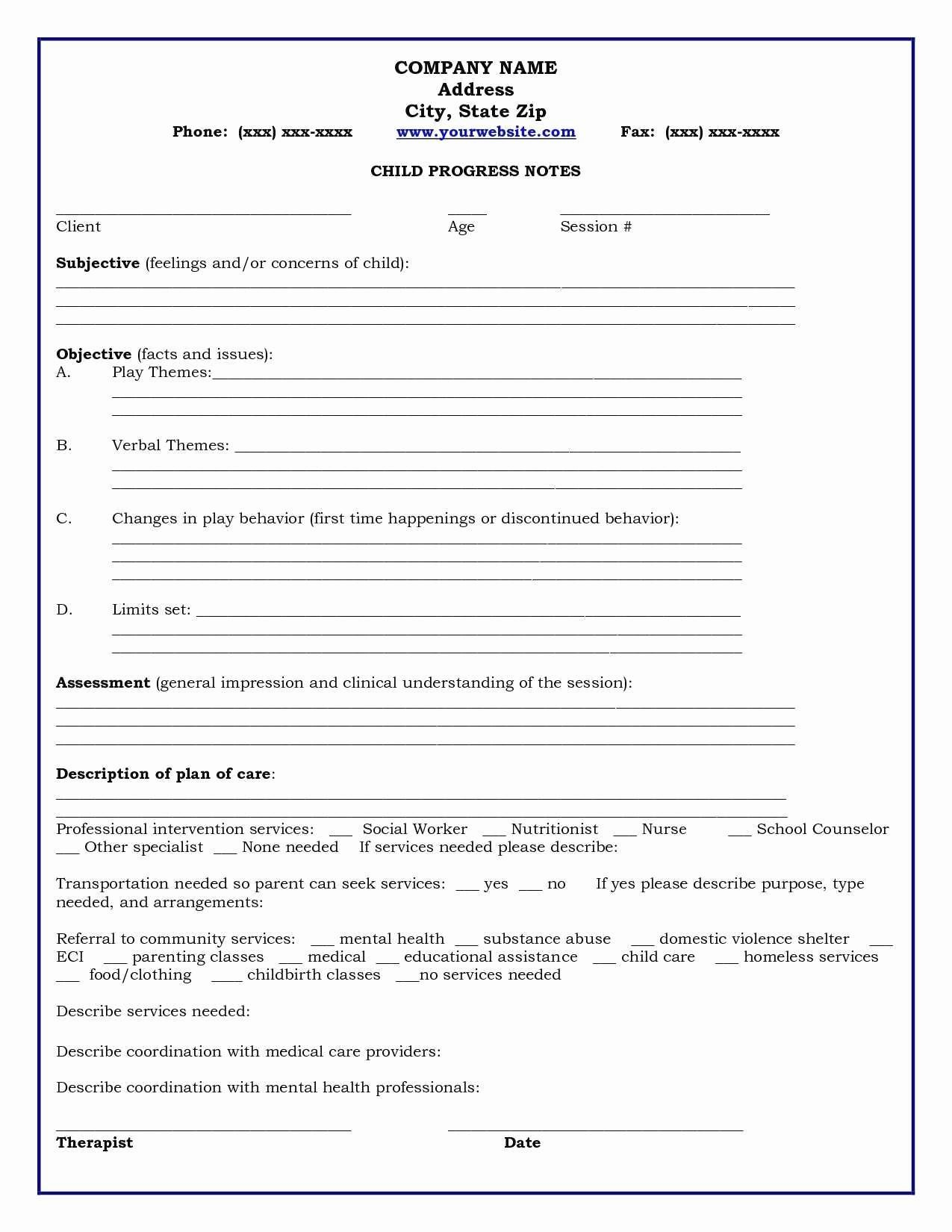 therapy progress notes template free