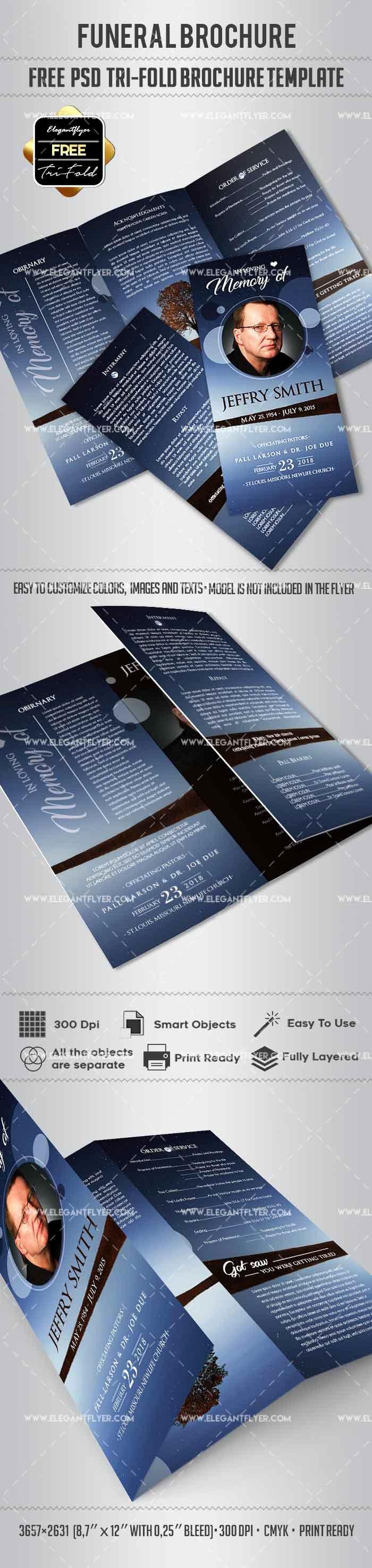 Free Tri Fold Template Awesome Free Tri Fold Funeral Brochure – by Elegantflyer