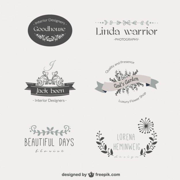 Free Vintage Logo Template Elegant Vintage Floral Template Logos Vector