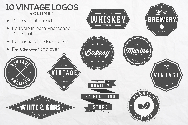 Free Vintage Logo Template Inspirational 10 Vintage Logos Vol 1 Logo Templates Creative Market