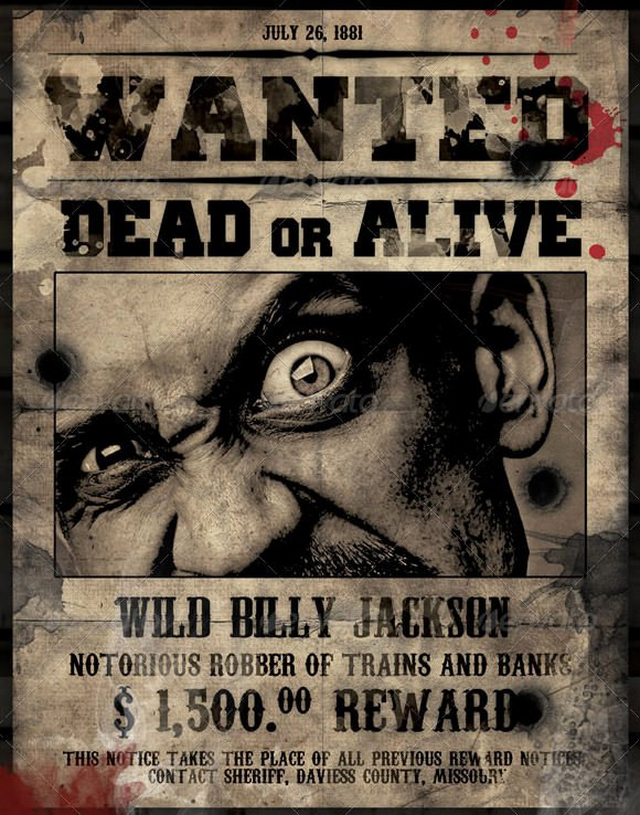 Free Wanted Poster Template Awesome 20 Free Wanted Poster Templates to Download