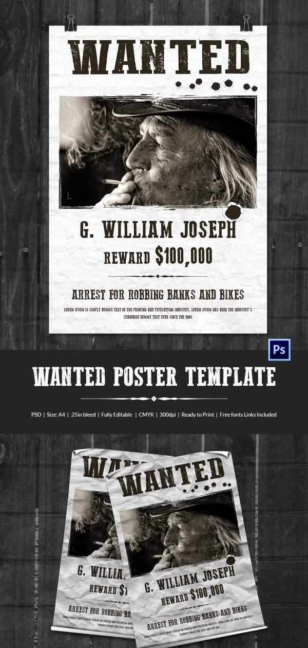 Free Wanted Poster Template Awesome Wanted Poster Template 34 Free Printable Word Psd