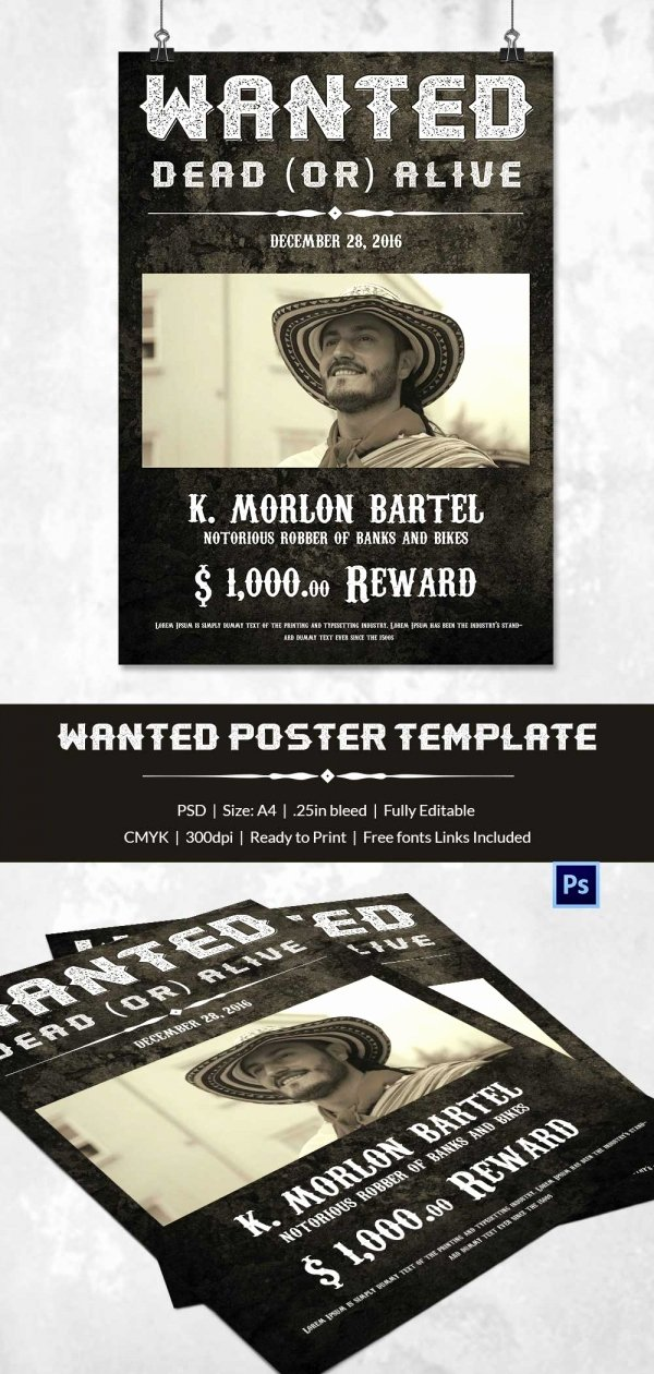 Free Wanted Poster Template Best Of Wanted Poster Template 34 Free Printable Word Psd