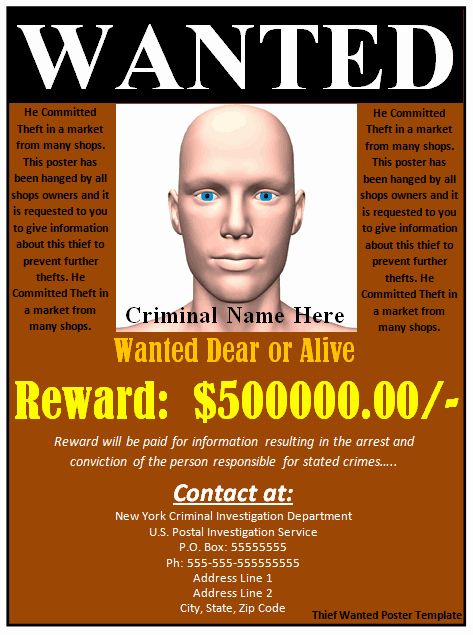 Free Wanted Poster Template Fresh 18 Free Wanted Poster Templates Fbi and Old West Free