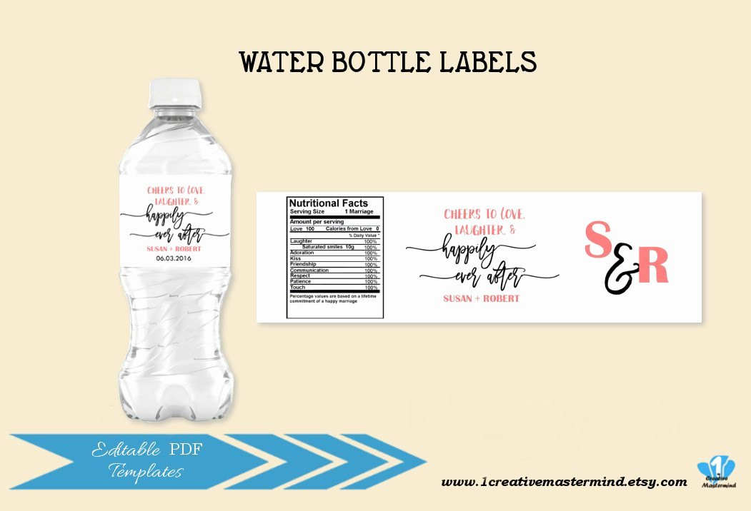 Free Water Bottle Template Awesome Diy Wedding Water Bottle Label Template Editable Water Bottle