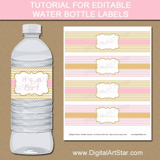 Free Water Bottle Template Awesome Tutorial for Pink & Gold Editable Water Bottle Label
