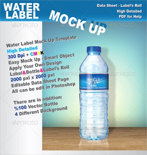 Free Water Bottle Template Luxury 24 Sample Water Bottle Label Templates to Download