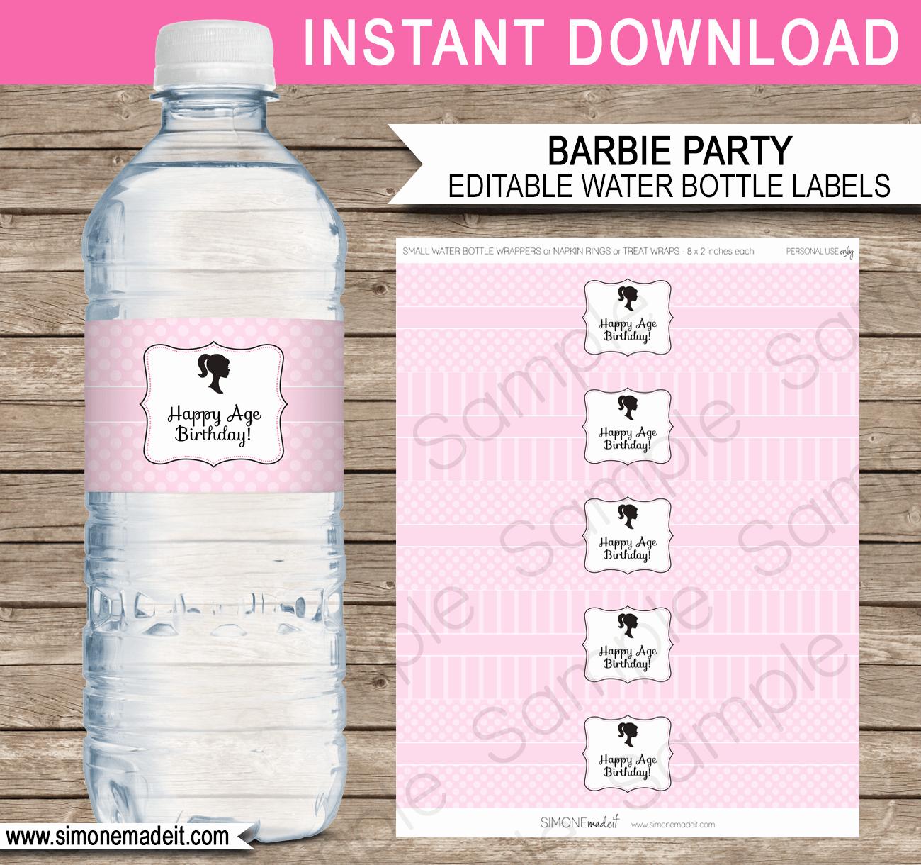 Free Water Bottle Template Unique Barbie Party Water Bottle Labels