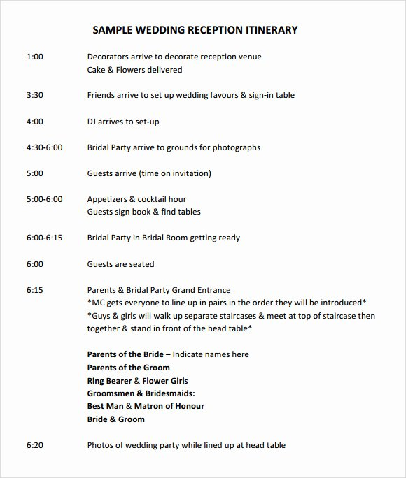 Free Wedding Itinerary Template Awesome 9 Wedding Itinerary Samples