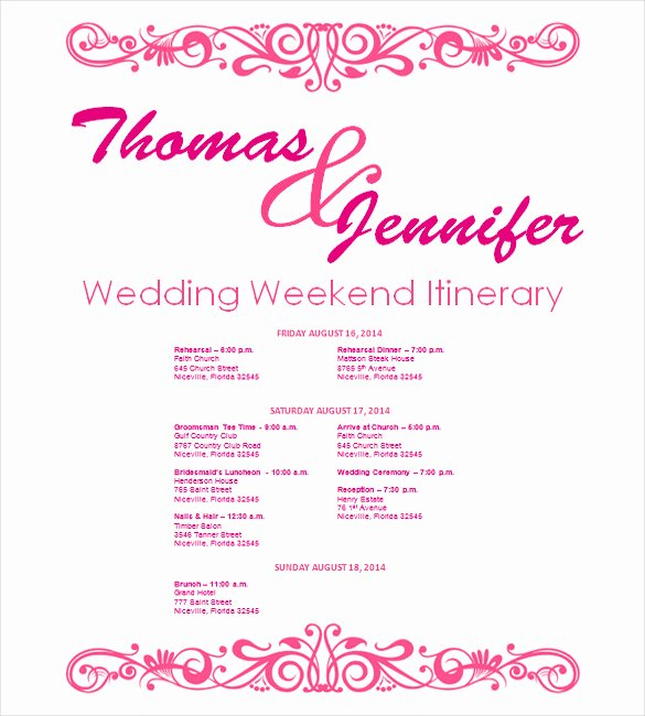 Free Wedding Itinerary Template Awesome Wedding Itinerary Template 11 Free Word Pdf Documents