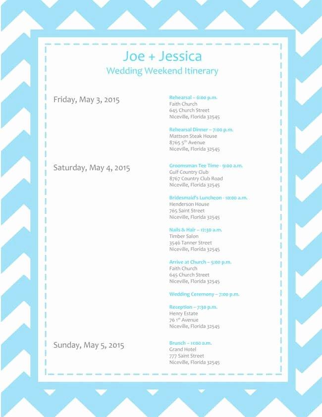 Free Wedding Itinerary Template Beautiful 6 Free Wedding Itinerary Templates for Word and Excel