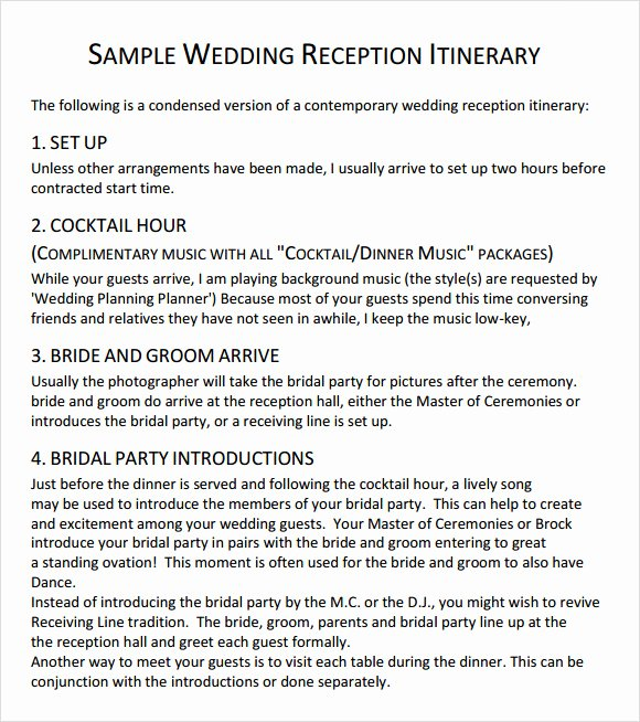 Free Wedding Itinerary Template Inspirational 10 Sample Wedding Agenda Templates to Download