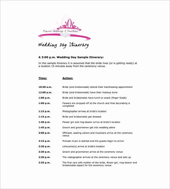 Free Wedding Itinerary Template Inspirational 9 Wedding Agenda Templates Free Sample Example format
