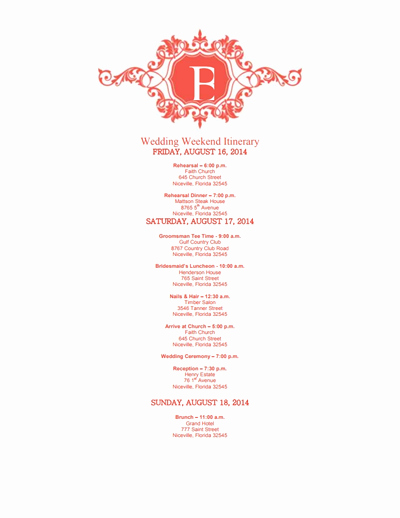 Free Wedding Itinerary Template Lovely Wedding Itinerary Template Free Download Edit Create
