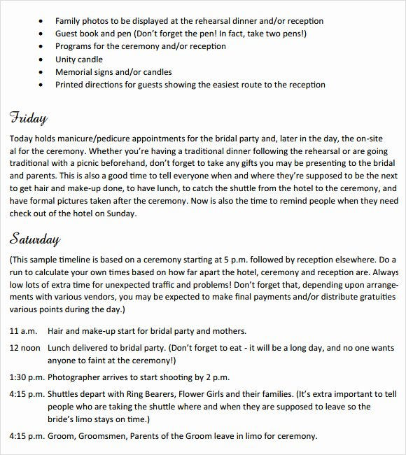 Free Wedding Itinerary Template Unique 13 Sample Wedding Weekend Itinerary Templates