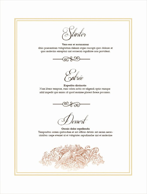 Free Wedding Menu Template Awesome 36 Wedding Menu Templates Ai Psd Google Docs Apple