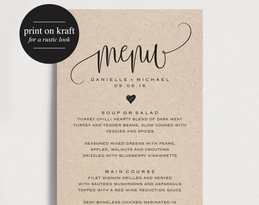 Free Wedding Menu Template Awesome Rustic Wedding Menu Wedding Menu Template Menu Cards