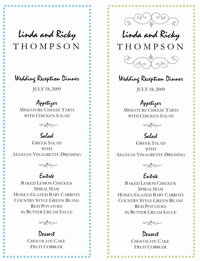 Free Wedding Menu Template Awesome Wedding Menu Template – 5 Printable Designs