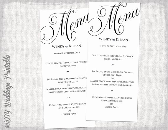 Free Wedding Menu Template Best Of Menu Template Black and White Wedding Menu Diy Wedding Menu
