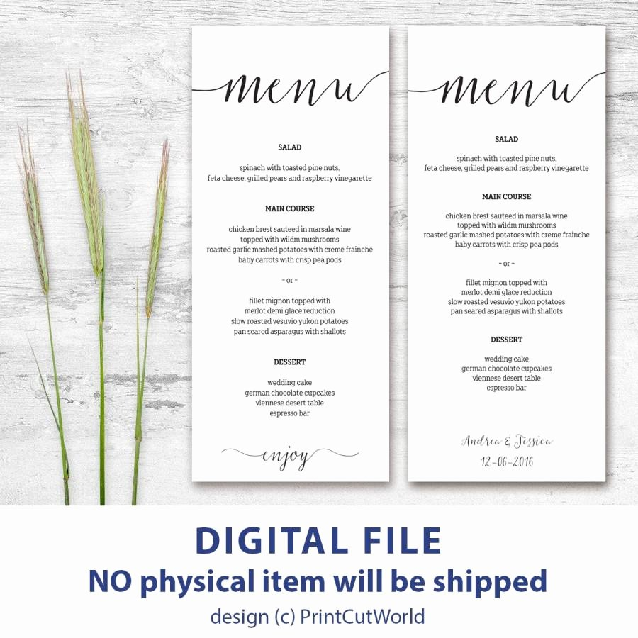 Free Wedding Menu Template Best Of Printable Menu Card 4x9 Rustic Wedding Menu Template