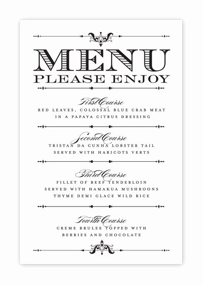 Free Wedding Menu Template Elegant Free Printable Wedding Menu Templates