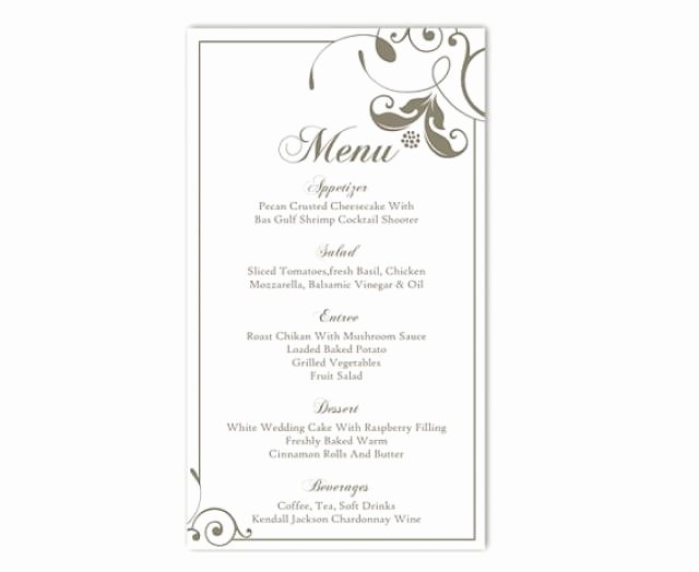 Free Wedding Menu Template Lovely Wedding Menu Template Diy Menu Card Template Editable Text
